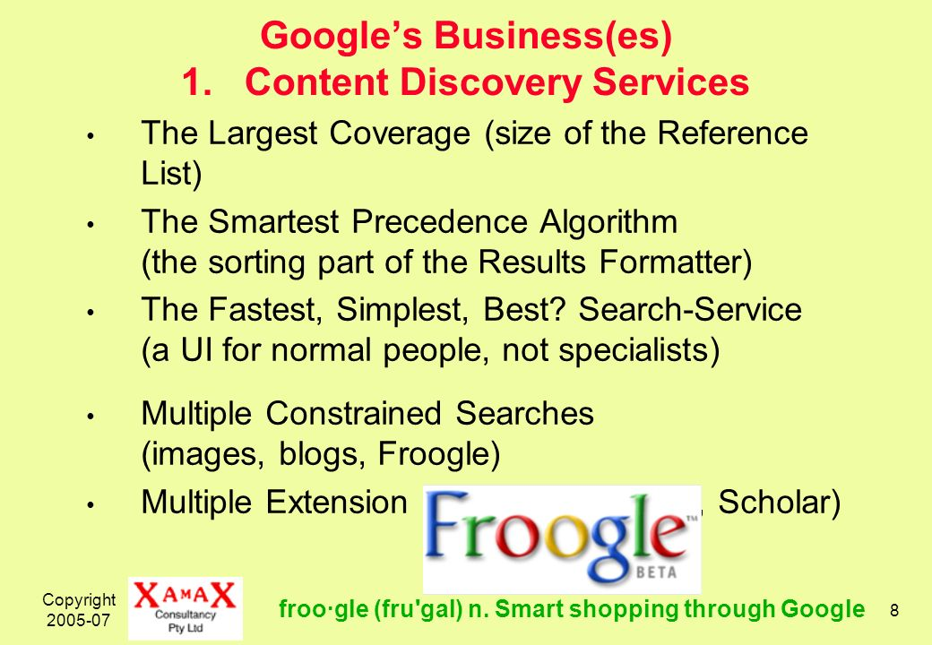 Copyright 2005-07 29 Googles Business(es) 3.