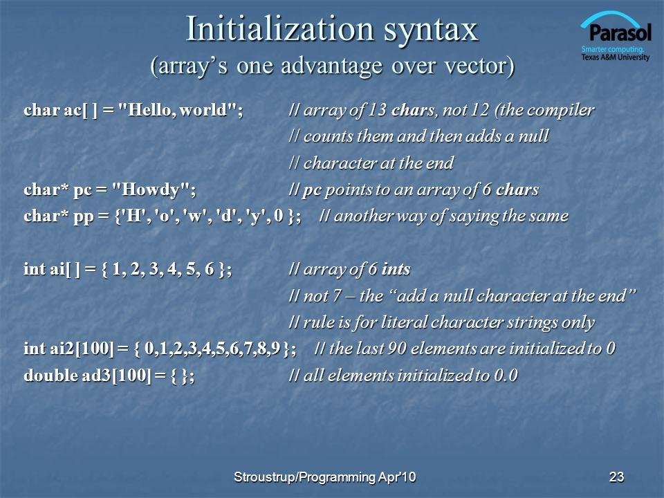Initialization syntax (arrays one advantage over vector) char ac[ ] =