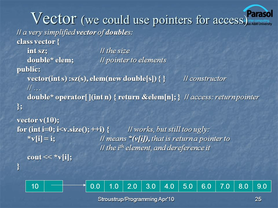 Vector (we could use pointers for access) // a very simplified vector of doubles: class vector { int sz;// the size double* elem;// pointer to element