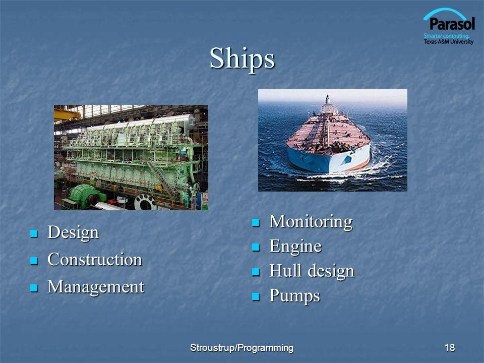 18 Ships Design Design Construction Construction Management Management Monitoring Monitoring Engine Engine Hull design Hull design Pumps Pumps Stroustrup/Programming