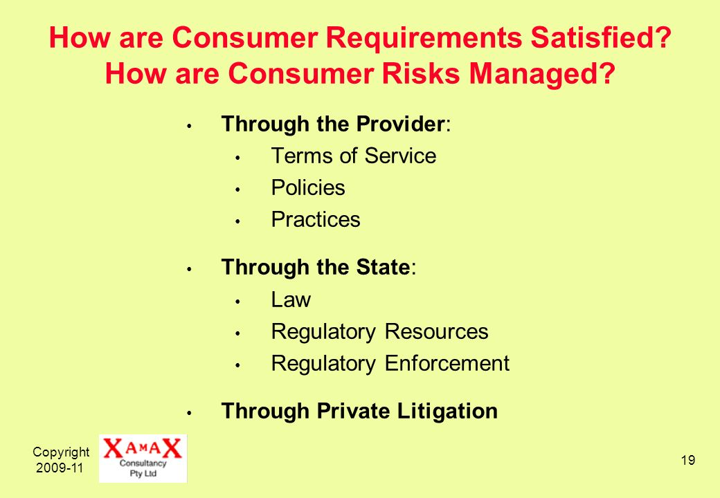 Copyright 2009-11 19 How are Consumer Requirements Satisfied.