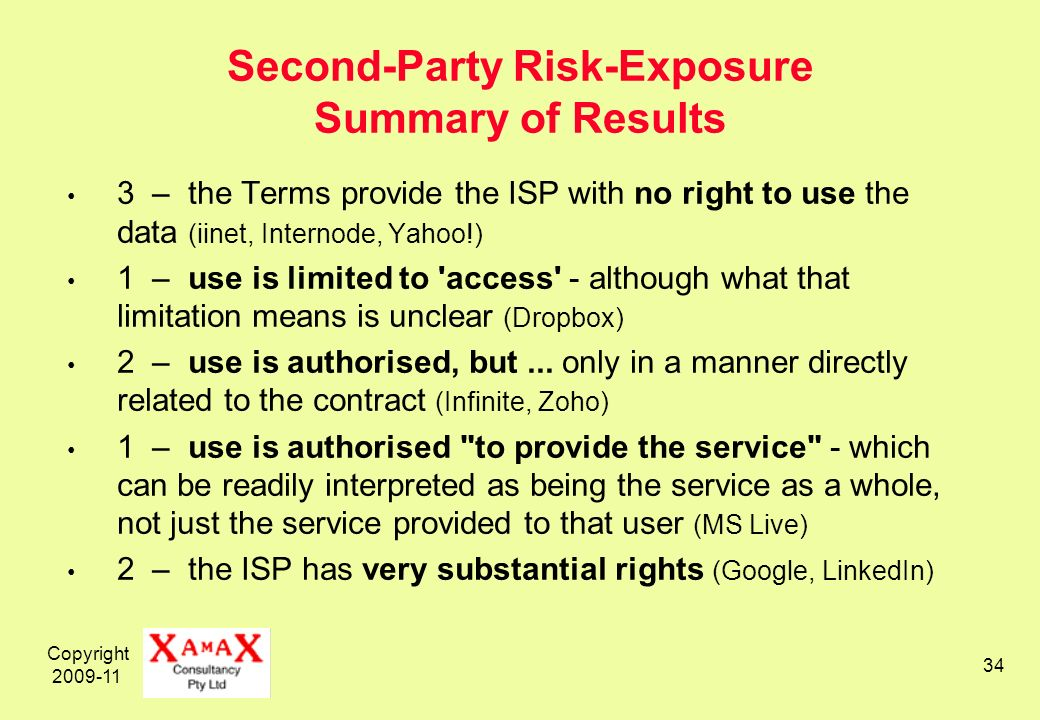 Copyright 2009-11 34 Second-Party Risk-Exposure Summary of Results 3 – the Terms provide the ISP with no right to use the data (iinet, Internode, Yaho