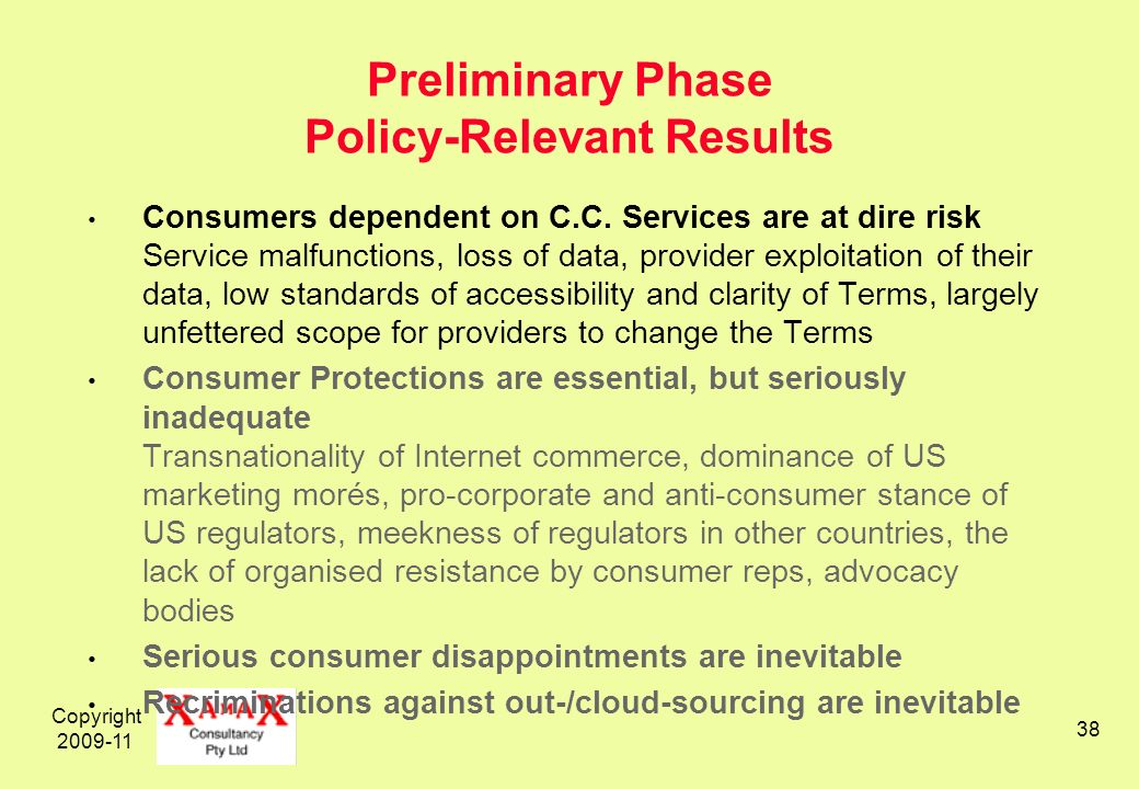 Copyright 2009-11 38 Preliminary Phase Policy-Relevant Results Consumers dependent on C.C. Services are at dire risk Service malfunctions, loss of dat