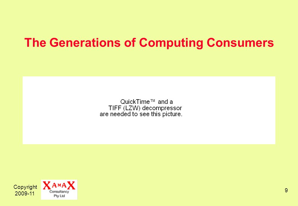 Copyright 2009-11 9 The Generations of Computing Consumers
