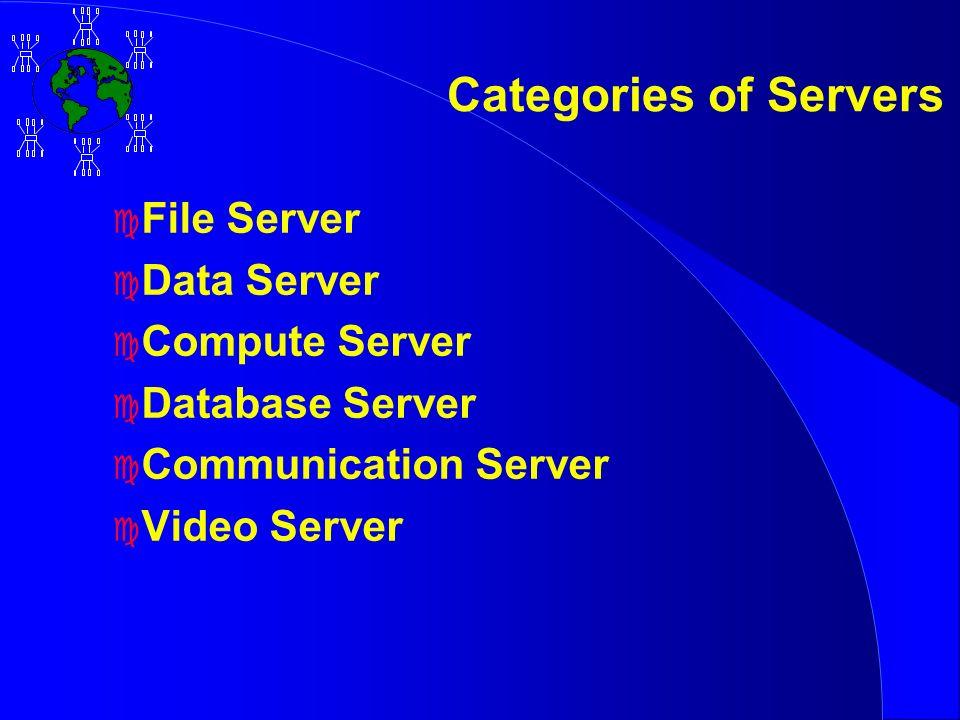 Categories of Servers c File Server c Data Server c Compute Server c Database Server c Communication Server c Video Server