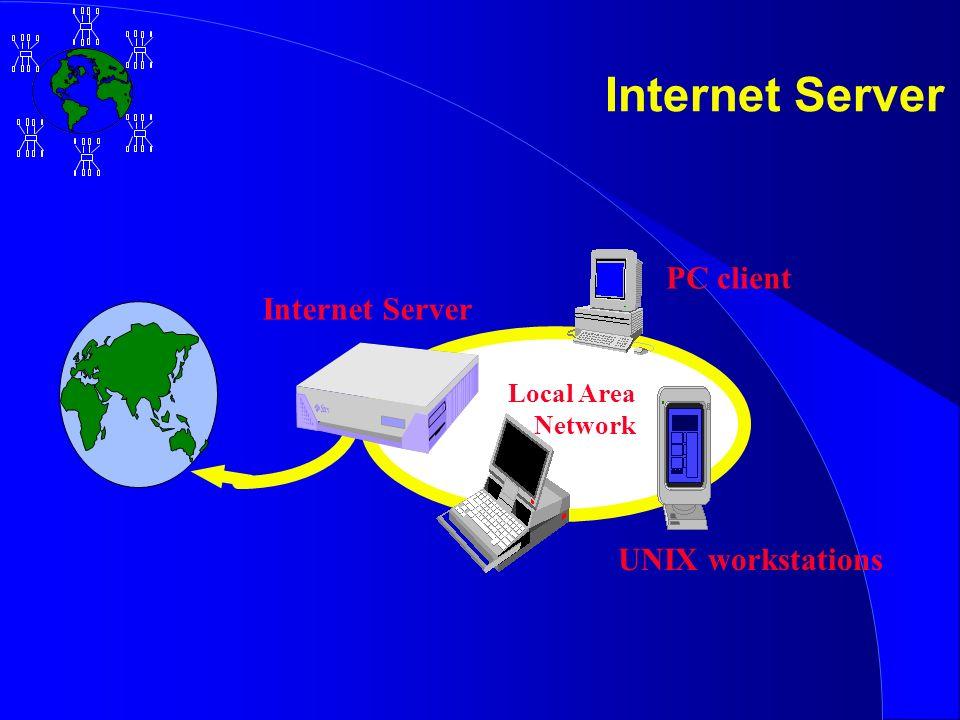 Internet Server PC client UNIX workstations Local Area Network