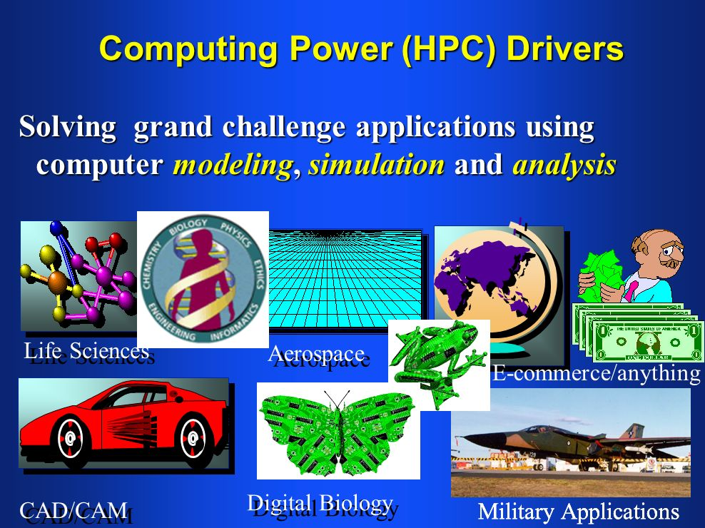Computing Power (HPC) Drivers Solving grand challenge applications using computer modeling, simulation and analysis Life Sciences CAD/CAM Aerospace Mi