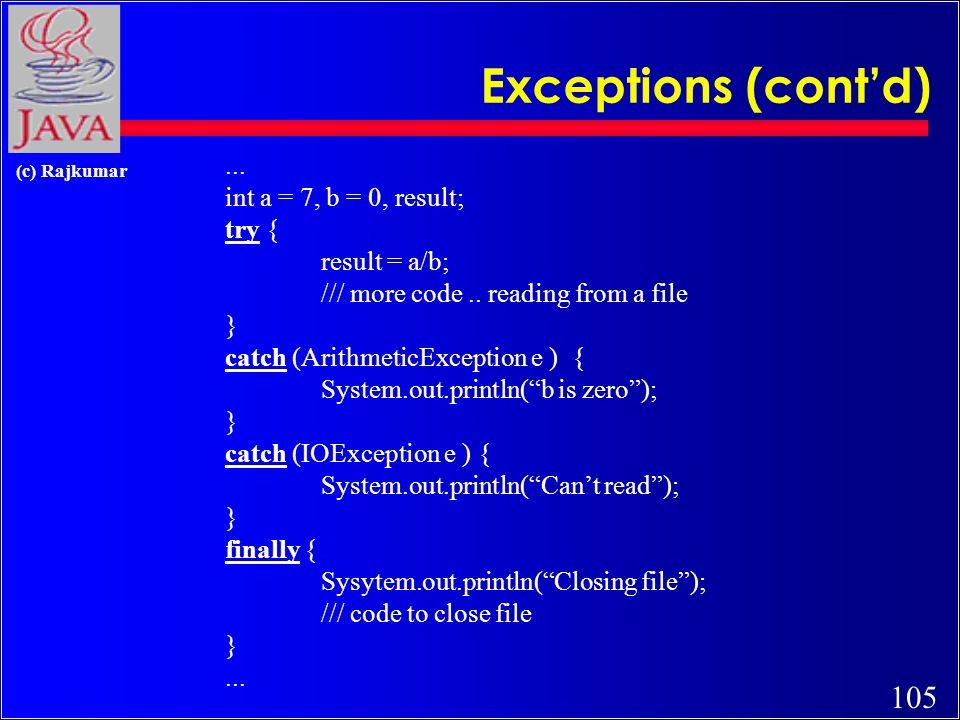 104 (c) Rajkumar Exceptions (error handling) code without exceptions:...