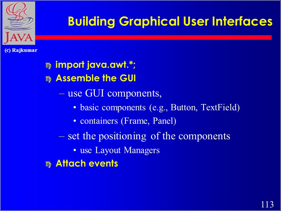 112 (c) Rajkumar Adding Components via Layouts