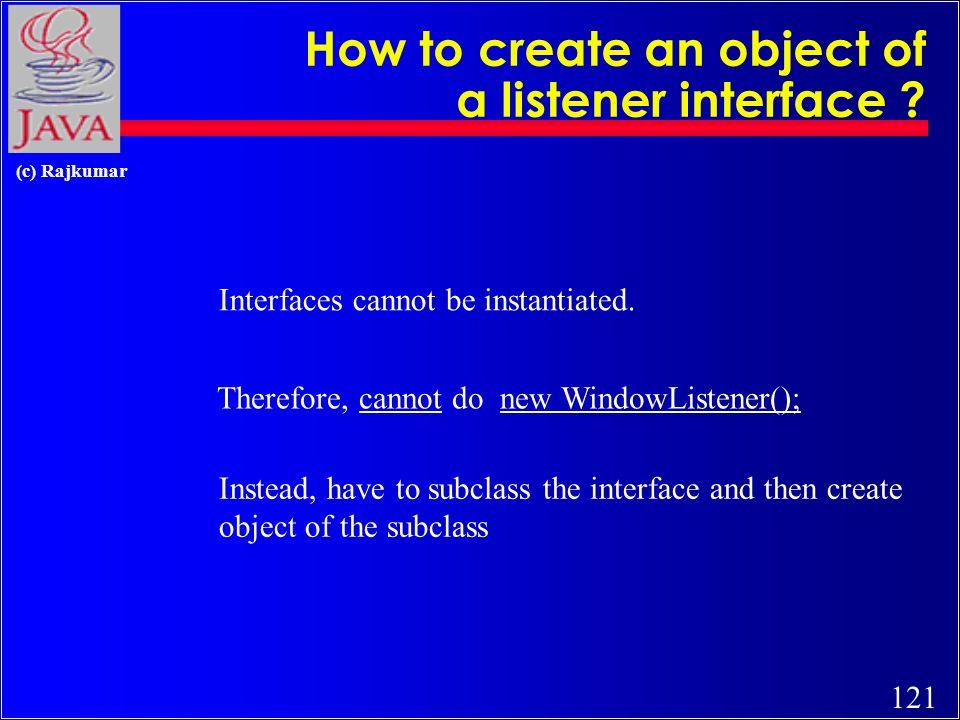 120 (c) Rajkumar 1) windowActivated(WindowEvent) - Invoked when a window is activated.