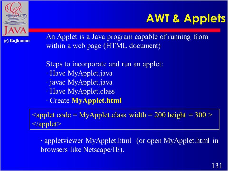 130 (c) Rajkumar Applets and GUI