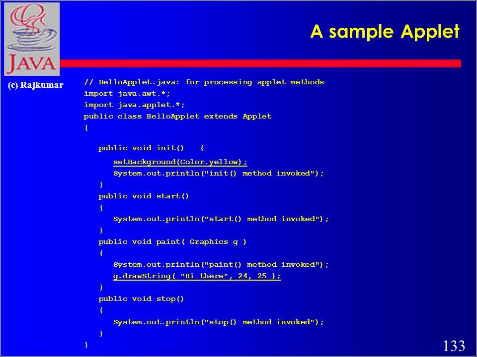 132 (c) Rajkumar Applet methods Unlike Applications, Applets do not have main().