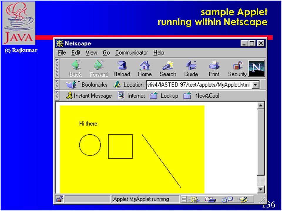 135 (c) Rajkumar another sample Applet (run in Applet Viewer)