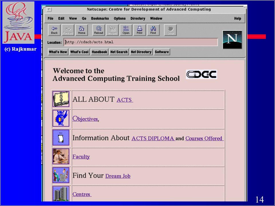 13 (c) Rajkumar HTML document Centre for Development of Advanced Computing... webmaster