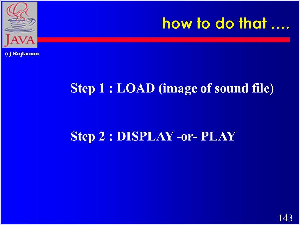 142 (c) Rajkumar sample Applet with sound … … … (MyAppletSound.java)