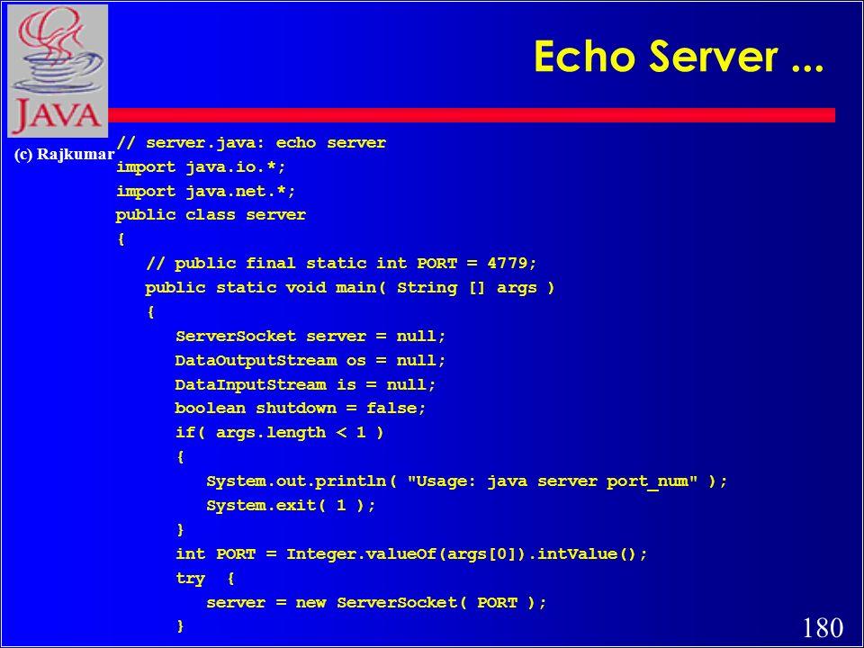 179 (c) Rajkumar Echo Server Client..
