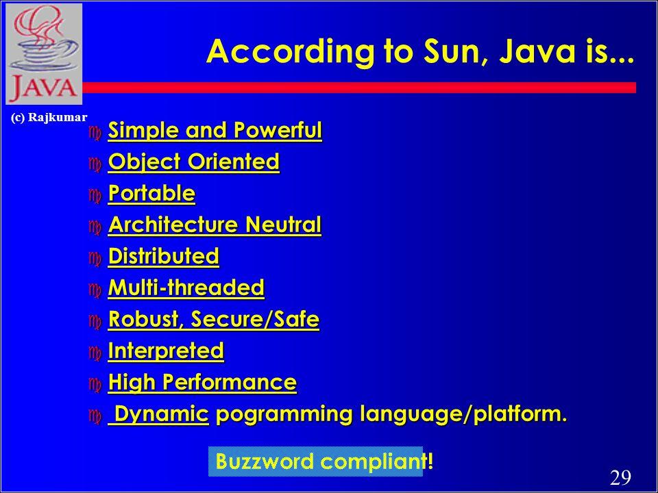 28 (c) Rajkumar According to the World, Java Is...