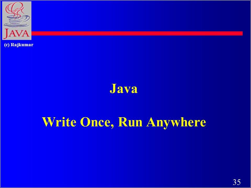 34 (c) Rajkumar Total Platform Independence JAVA COMPILER JAVA BYTE CODE JAVA INTERPRETER Windows 95MacintoshSolarisWindows NT (translator) (same for all platforms) (one for each different system)