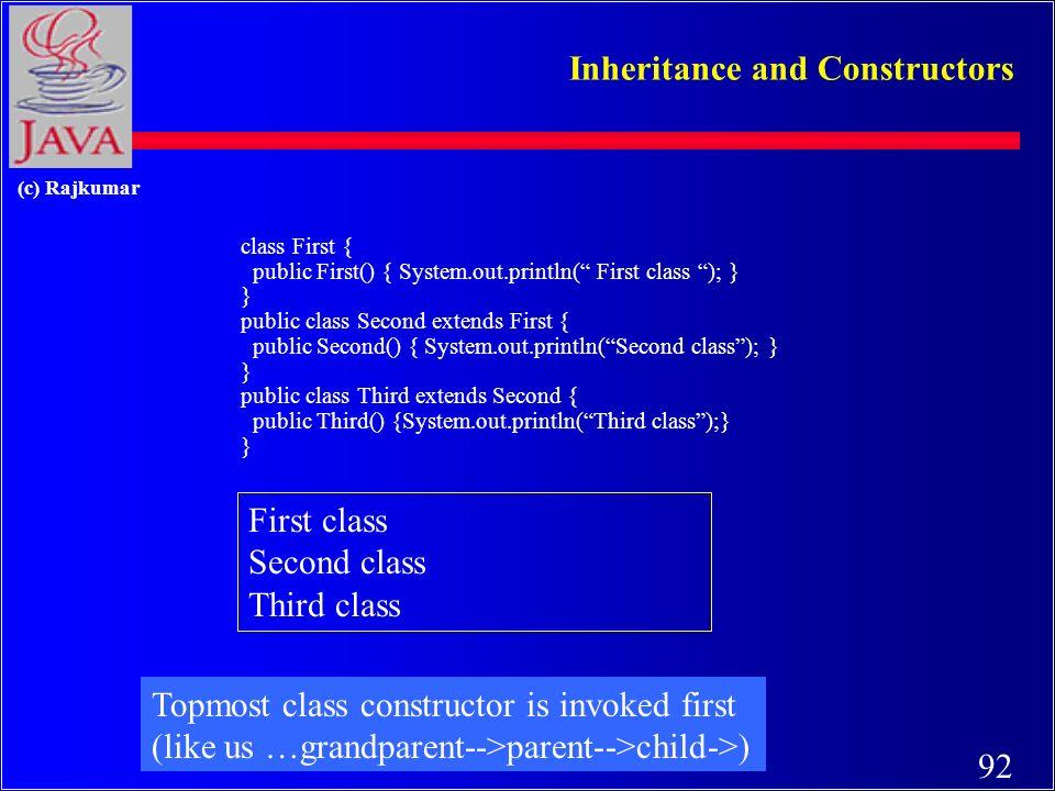 91 (c) Rajkumar Overriding (methods) class Manager extends Employee { private double bonus; public void setBonus(double bb) { …} public void raise(double dd) { salary += salary * dd/100 + bonus; } public Manager ( … ) { … } }