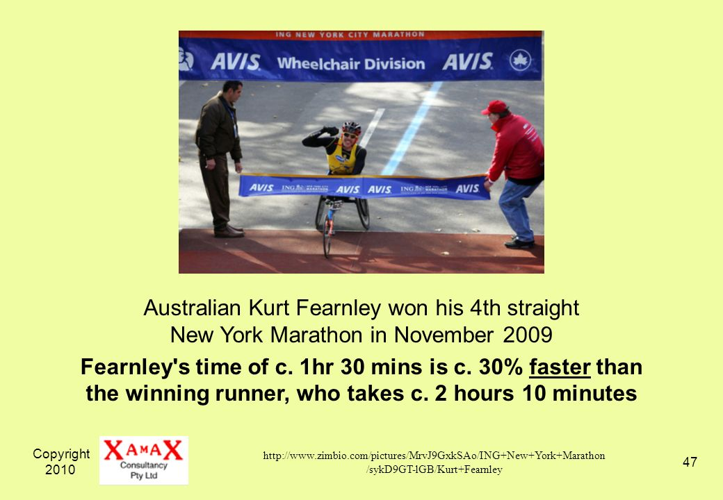 Copyright 2010 47 Australian Kurt Fearnley won his 4th straight New York Marathon in November 2009 Fearnley's time of c. 1hr 30 mins is c. 30% faster