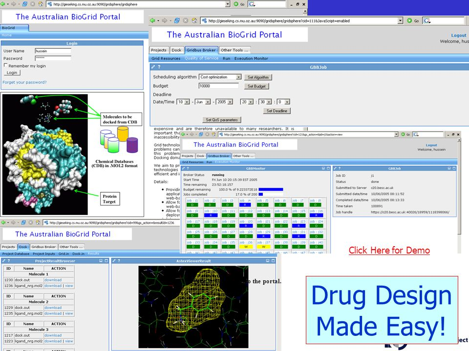 30 Figure 3 : Logging into the portal. Drug Design Made Easy! Click Here for Demo