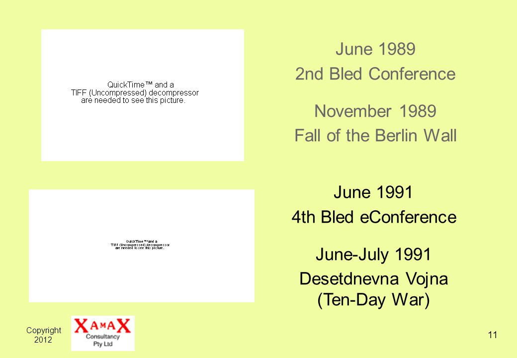 Copyright 2012 11 June 1989 2nd Bled Conference November 1989 Fall of the Berlin Wall June 1991 4th Bled eConference June-July 1991 Desetdnevna Vojna