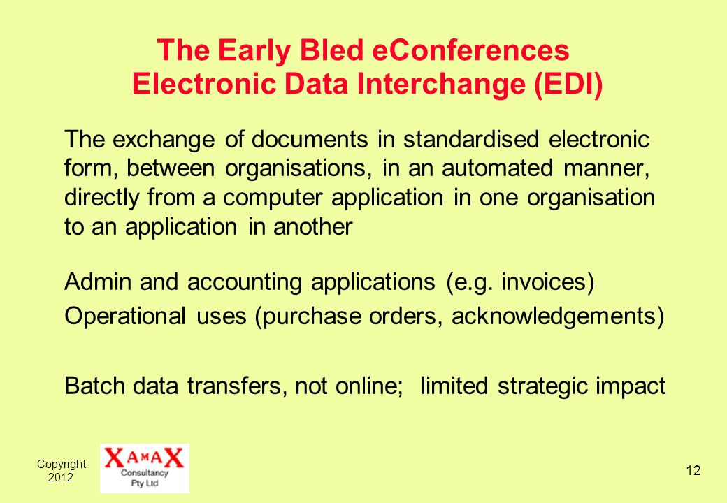 Copyright 2012 12 The Early Bled eConferences Electronic Data Interchange (EDI) The exchange of documents in standardised electronic form, between org