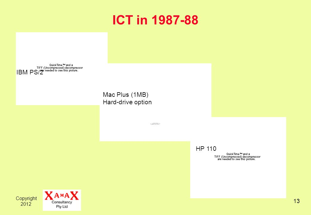 Copyright 2012 13 ICT in 1987-88 IBM PS/2 Mac Plus (1MB) Hard-drive option HP 110