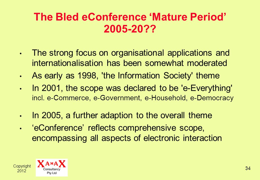 Copyright 2012 34 The Bled eConference Mature Period 2005-20?? The strong focus on organisational applications and internationalisation has been somew