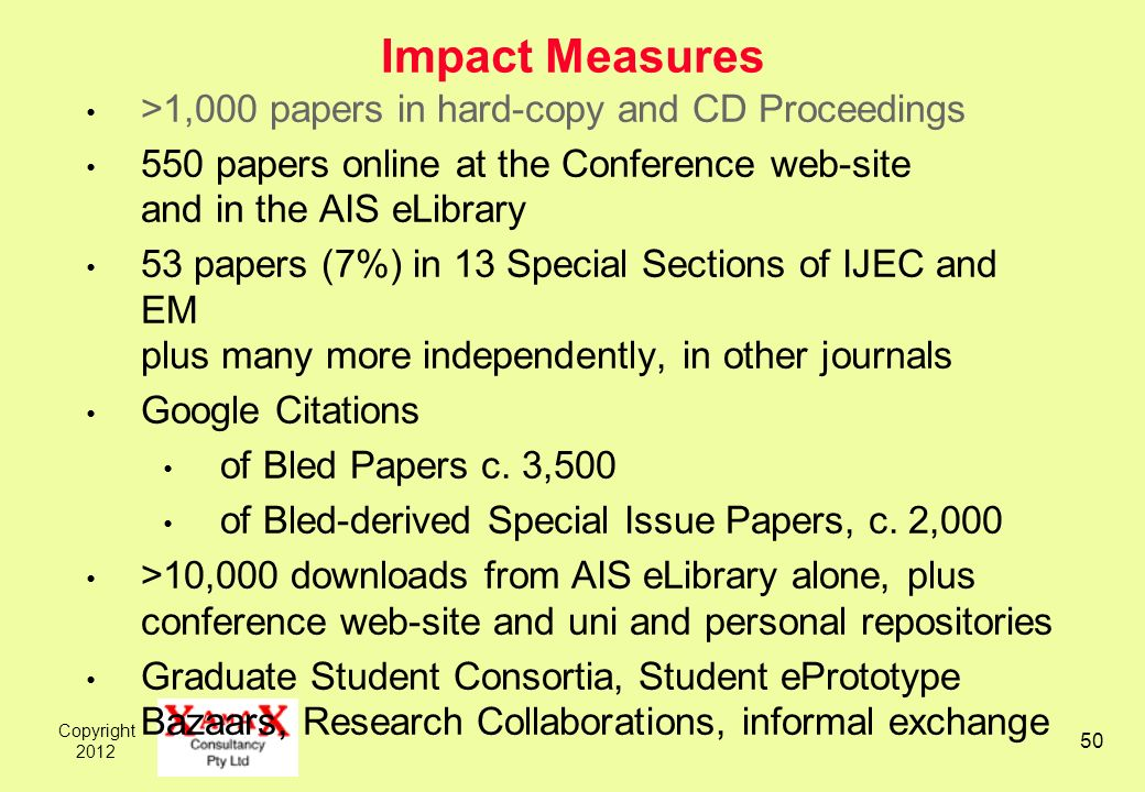 Copyright 2012 50 Impact Measures >1,000 papers in hard-copy and CD Proceedings 550 papers online at the Conference web-site and in the AIS eLibrary 5