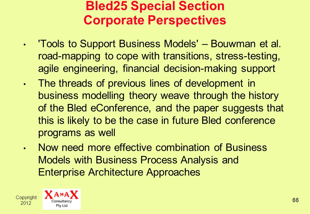 Copyright 2012 66 Bled25 Special Section Corporate Perspectives 'Tools to Support Business Models' – Bouwman et al. road-mapping to cope with transiti