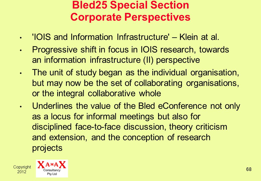 Copyright 2012 68 Bled25 Special Section Corporate Perspectives 'IOIS and Information Infrastructure' – Klein at al. Progressive shift in focus in IOI