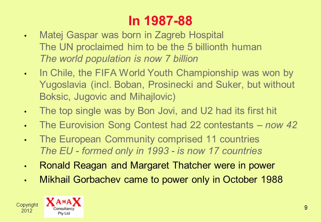 Copyright 2012 9 In 1987-88 Matej Gaspar was born in Zagreb Hospital The UN proclaimed him to be the 5 billionth human The world population is now 7 b