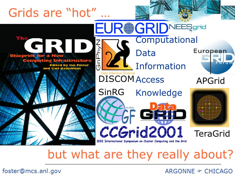 foster@mcs.anl.gov ARGONNE CHICAGO Computational Data Information Access Knowledge DISCOM SinRG but what are they really about.