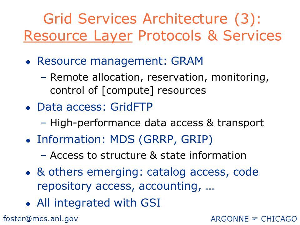 foster@mcs.anl.gov ARGONNE CHICAGO Grid Services Architecture (3): Resource Layer Protocols & Services l Resource management: GRAM –Remote allocation,