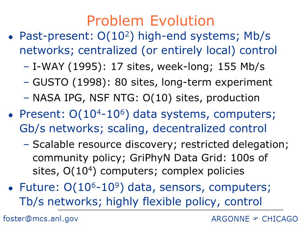 ARGONNE CHICAGO Problem Evolution l Past-present: O(10 2 ) high-end systems; Mb/s networks; centralized (or entirely local) control –I-WAY (1995): 17 sites, week-long; 155 Mb/s –GUSTO (1998): 80 sites, long-term experiment –NASA IPG, NSF NTG: O(10) sites, production l Present: O( ) data systems, computers; Gb/s networks; scaling, decentralized control –Scalable resource discovery; restricted delegation; community policy; GriPhyN Data Grid: 100s of sites, O(10 4 ) computers; complex policies l Future: O( ) data, sensors, computers; Tb/s networks; highly flexible policy, control
