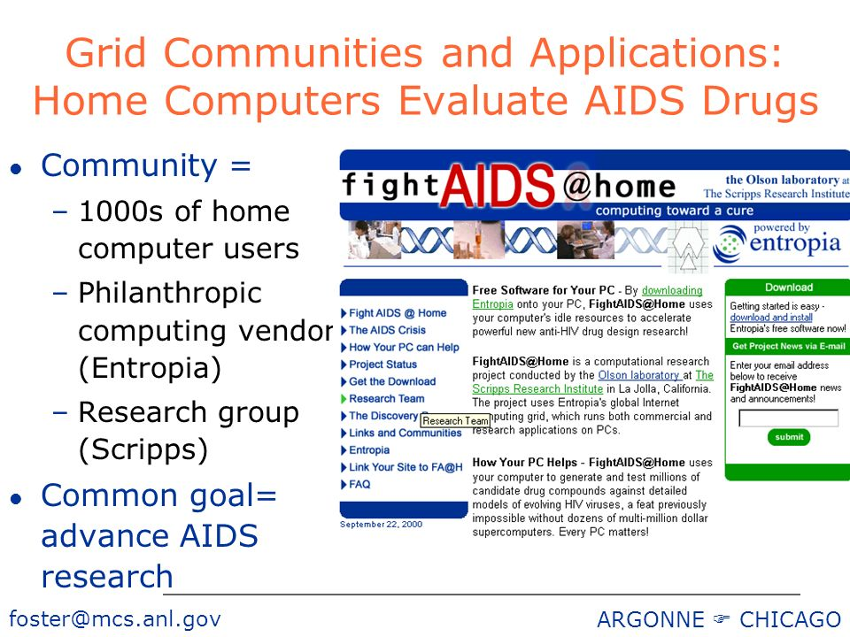 ARGONNE CHICAGO l Community = –1000s of home computer users –Philanthropic computing vendor (Entropia) –Research group (Scripps) l Common goal= advance AIDS research Grid Communities and Applications: Home Computers Evaluate AIDS Drugs