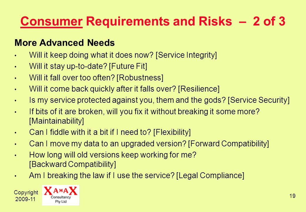 Copyright 2009-11 19 Consumer Requirements and Risks – 2 of 3 More Advanced Needs Will it keep doing what it does now.