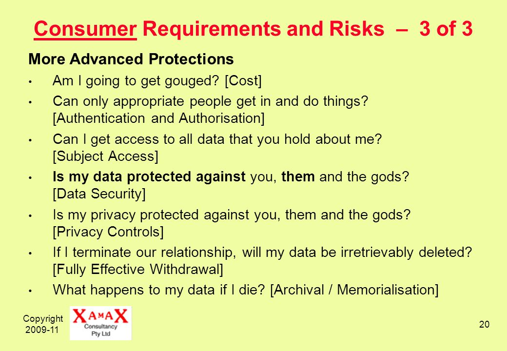 Copyright 2009-11 20 Consumer Requirements and Risks – 3 of 3 More Advanced Protections Am I going to get gouged.