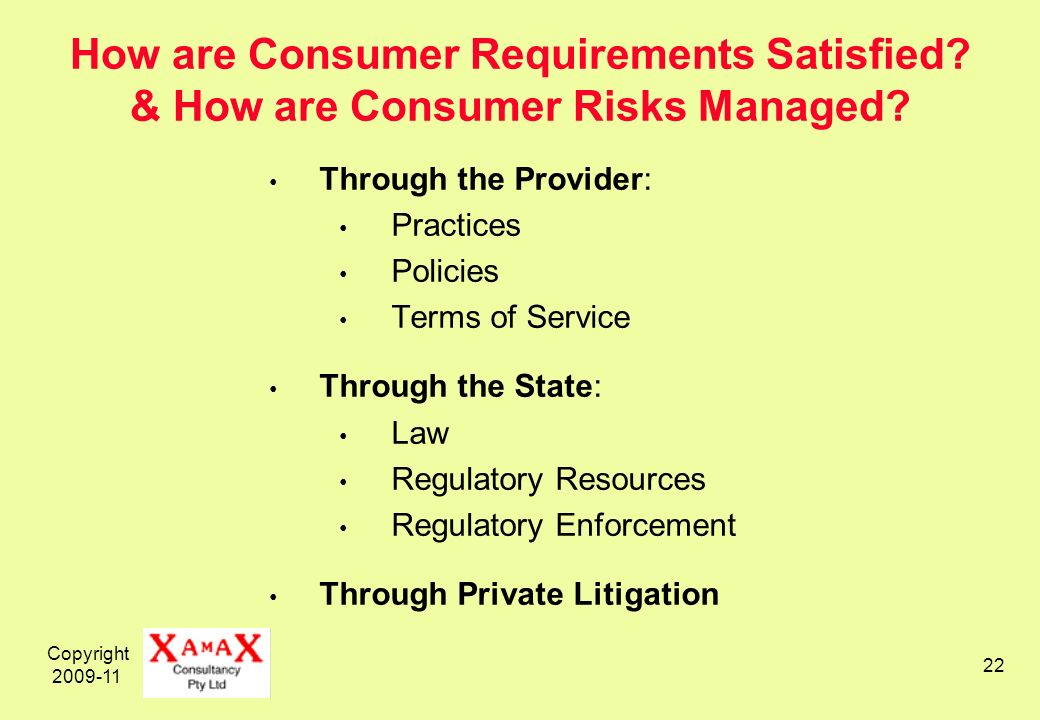 Copyright 2009-11 22 How are Consumer Requirements Satisfied.