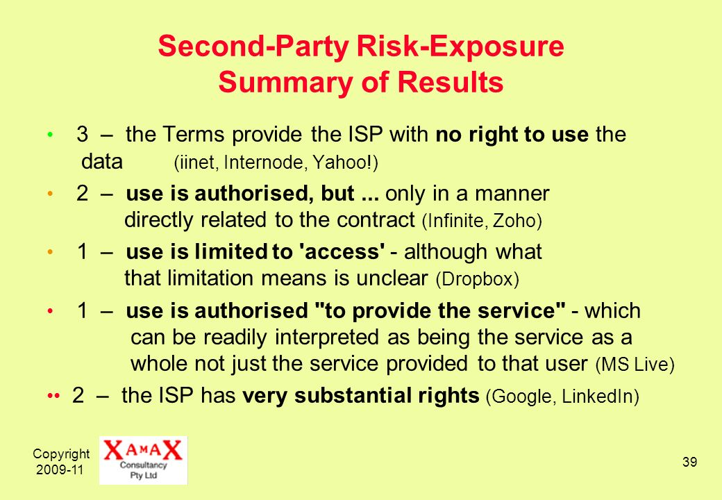 Copyright 2009-11 39 Second-Party Risk-Exposure Summary of Results 3 – the Terms provide the ISP with no right to use the data (iinet, Internode, Yahoo!) 2 – use is authorised, but...