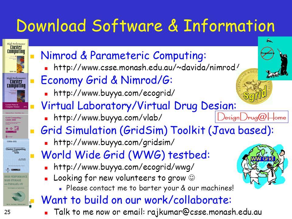 25 Download Software & Information Nimrod & Parameteric Computing: http://www.csse.monash.edu.au/~davida/nimrod/ Economy Grid & Nimrod/G: http://www.b