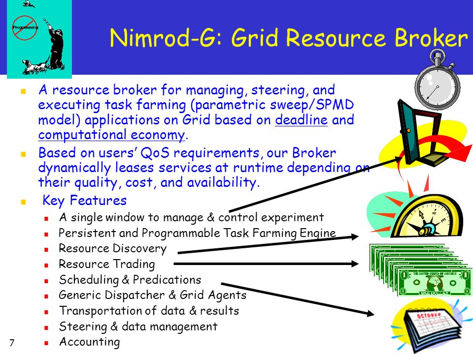 7 A resource broker for managing, steering, and executing task farming (parametric sweep/SPMD model) applications on Grid based on deadline and comput