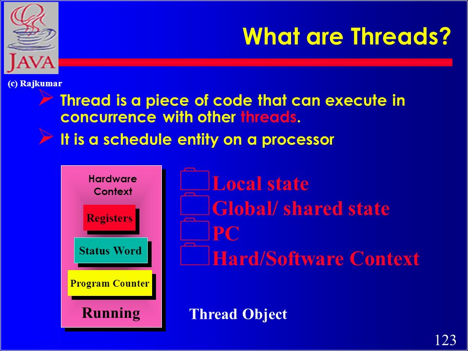 123 (c) Rajkumar What are Threads? Ø Thread is a piece of code that can execute in concurrence with other threads. Ø It is a schedule entity on a proc