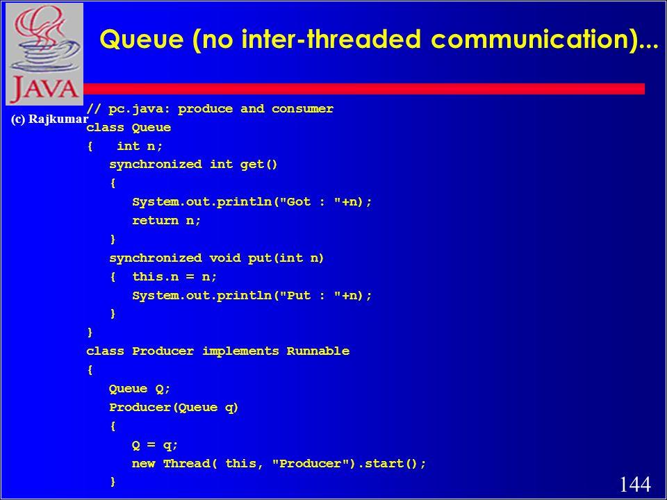 144 (c) Rajkumar Queue (no inter-threaded communication)...