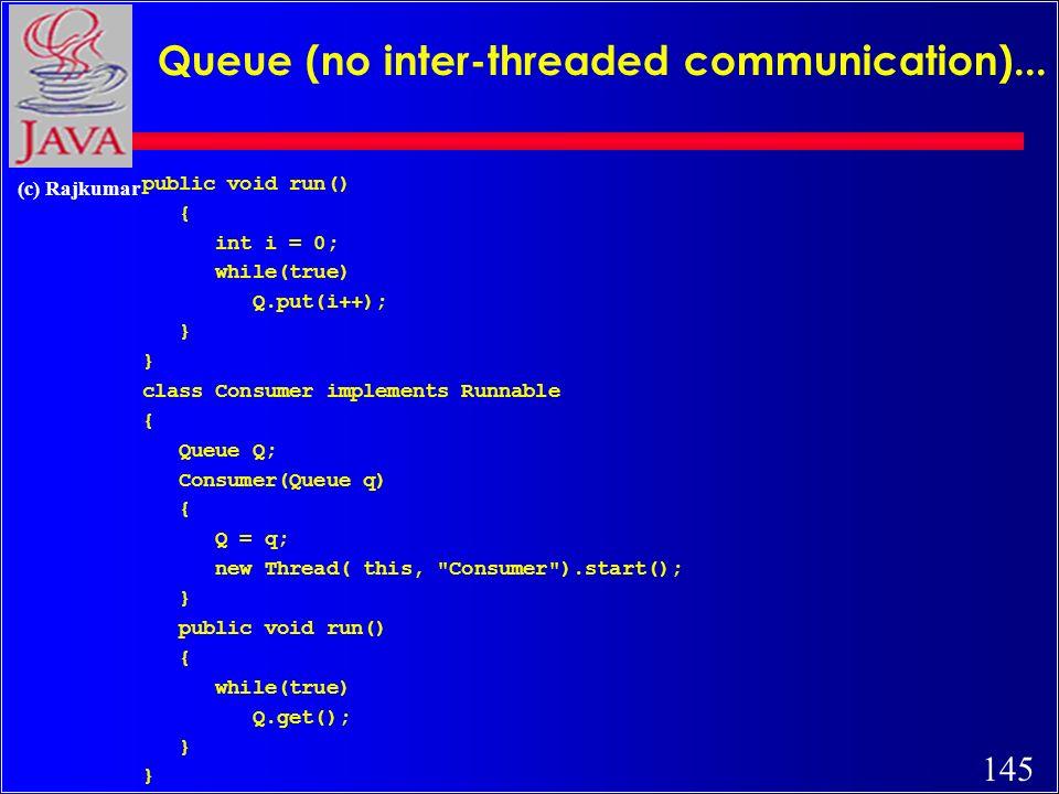 145 (c) Rajkumar Queue (no inter-threaded communication)...