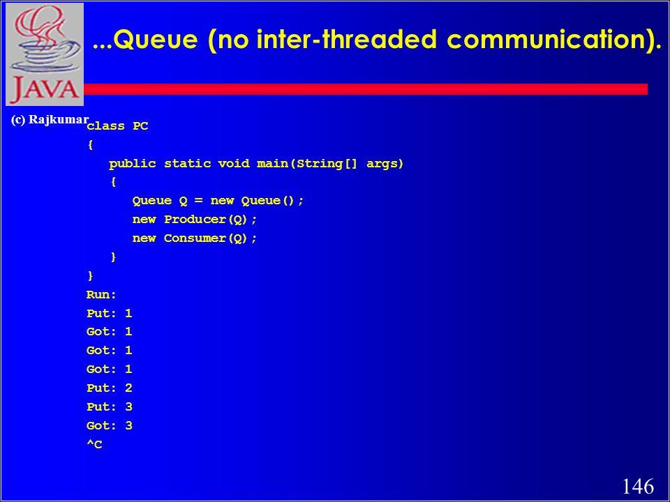 146 (c) Rajkumar...Queue (no inter-threaded communication).