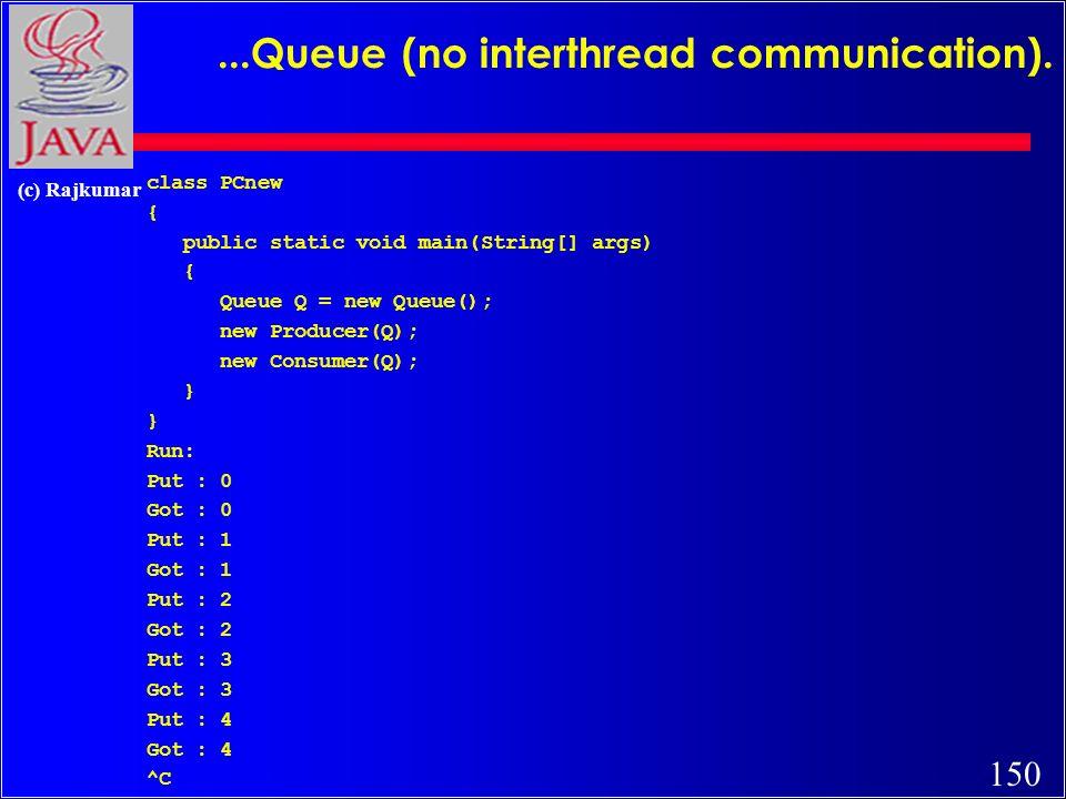 150 (c) Rajkumar...Queue (no interthread communication). class PCnew { public static void main(String[] args) { Queue Q = new Queue(); new Producer(Q)