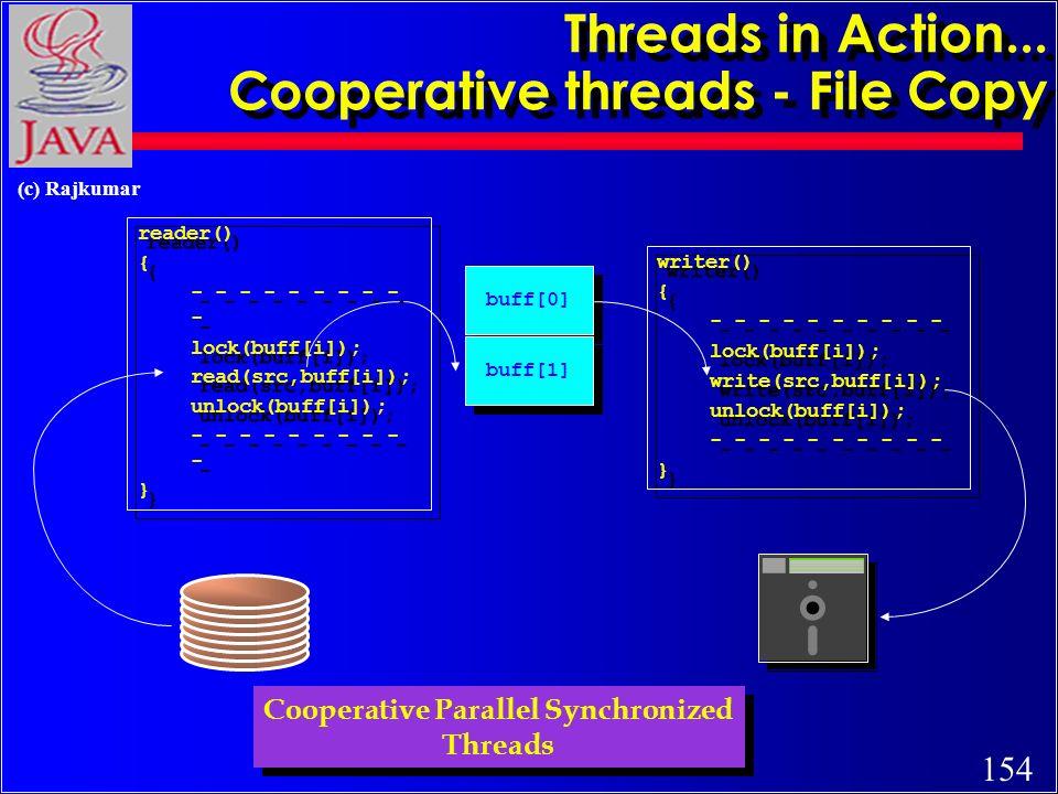 154 (c) Rajkumar Threads in Action... Cooperative threads - File Copy reader() { - - - - - lock(buff[i]); read(src,buff[i]); unlock(buff[i]); - - - -