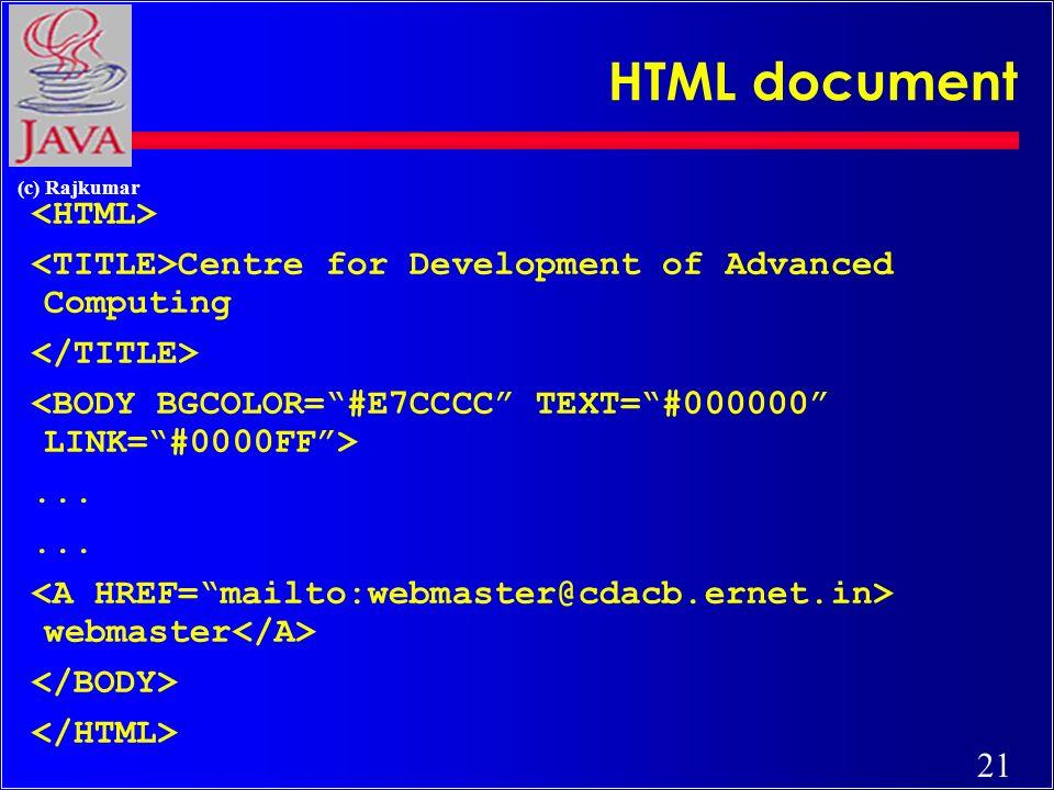 21 (c) Rajkumar HTML document Centre for Development of Advanced Computing... webmaster